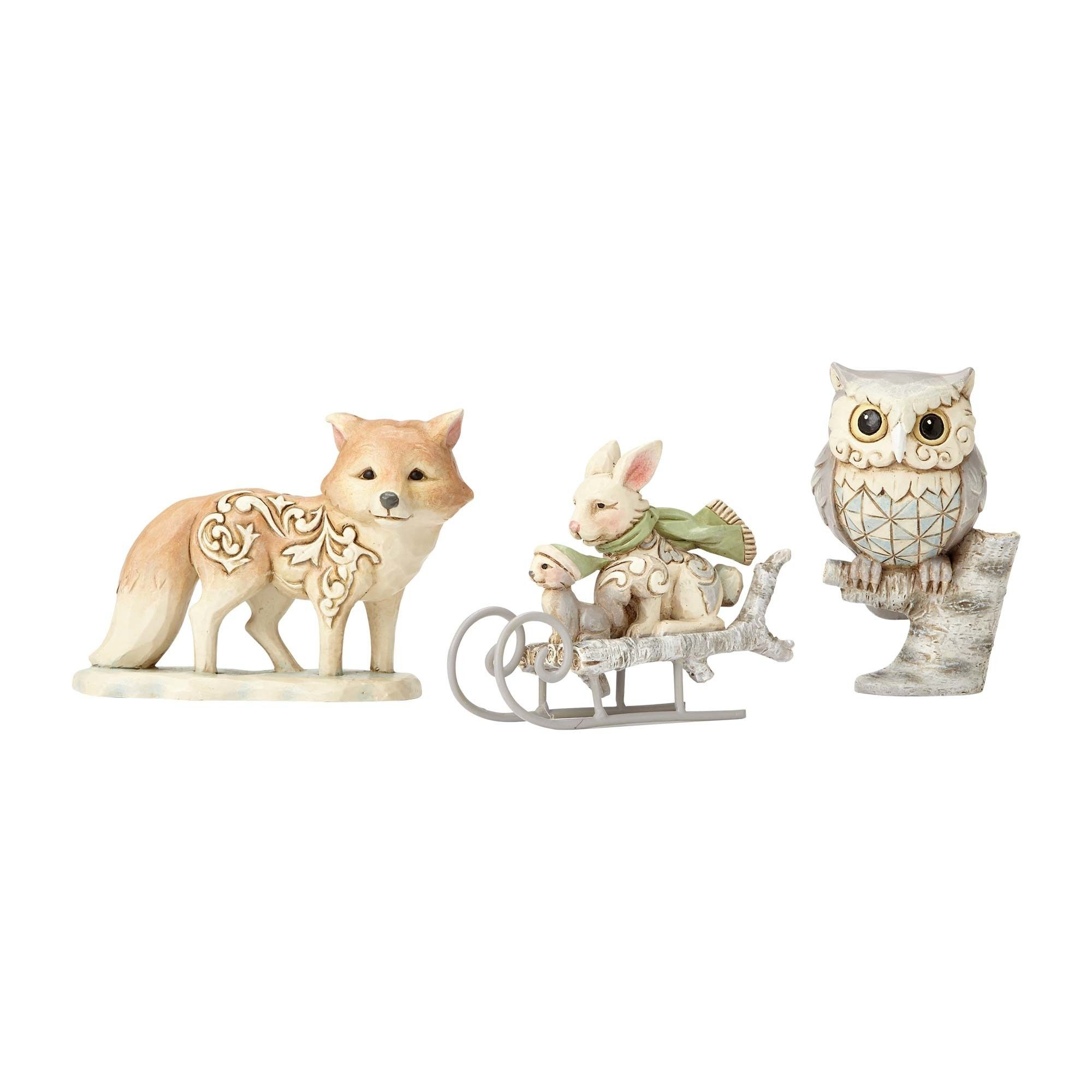 White Woodland Owl, Squirrel, and BunnySet of 3 Figurines