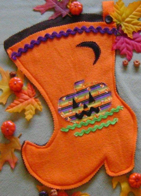 Halloween Stocking Door Decor or Treat Bag by kalenescustomgifts - decorate halloween bags