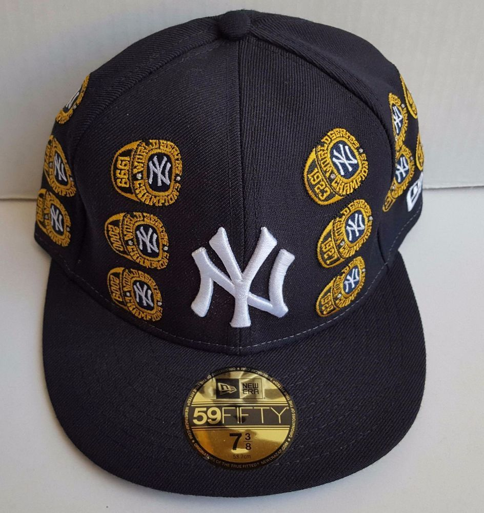 d66f69551 New York Yankees New Era 5950 World Series 27 Championship Rings Cap Hat 7  3/8 #NewEra #NewYorkYankees