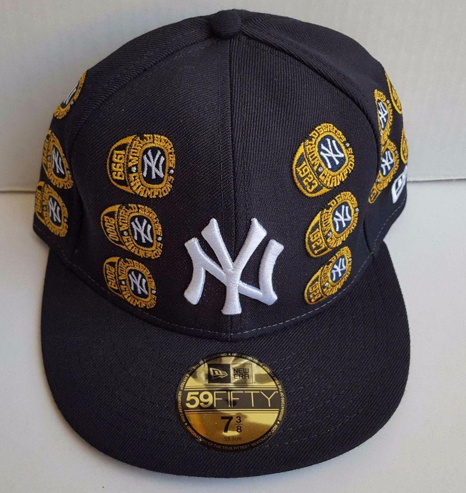 New York Yankees New Era 5950 World Series 27 Championship Rings Cap Hat 7 3 8 New York Yankees Yankees News Yankees