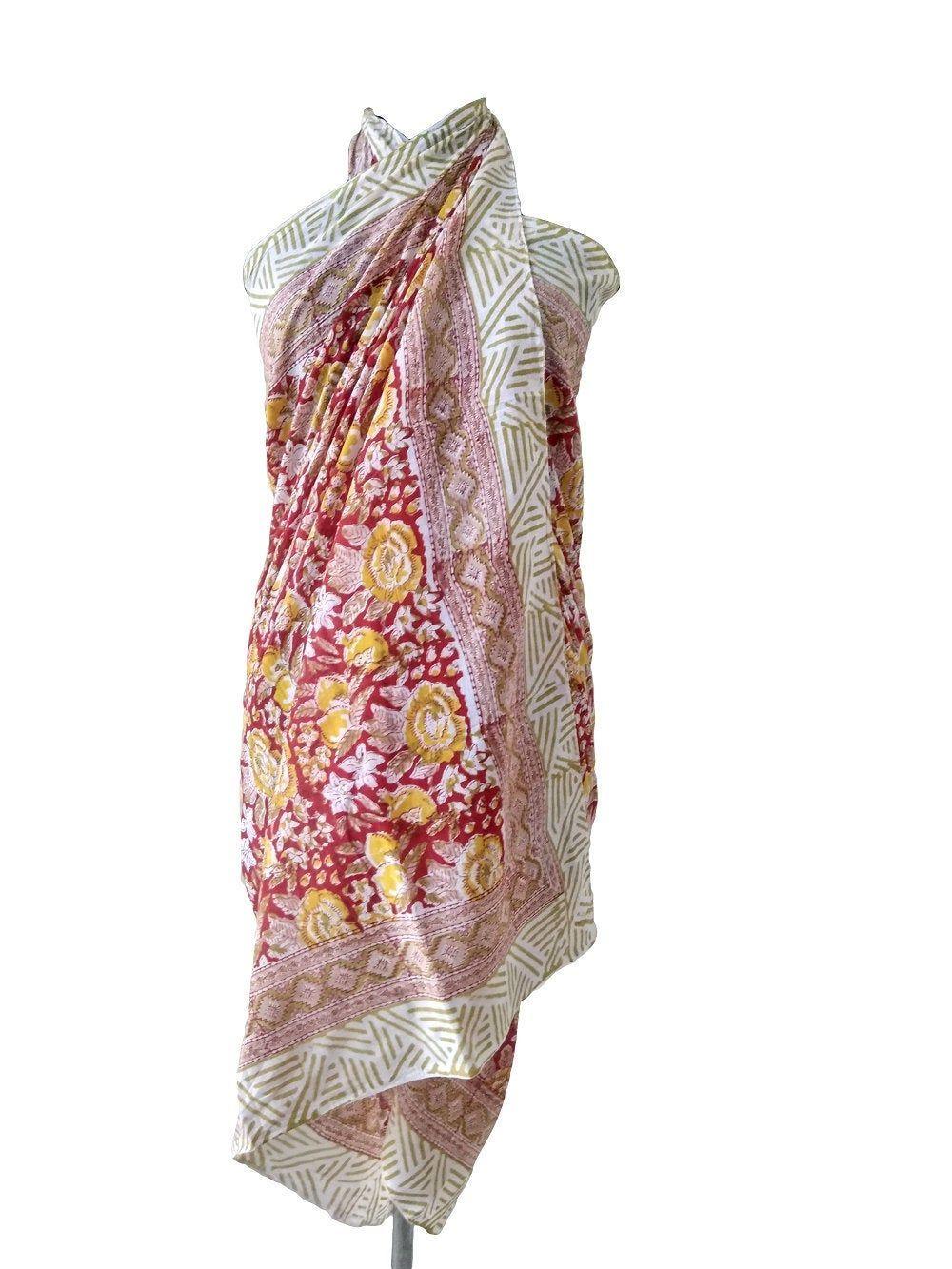 Indian cotton sarongs hand block print Bikini Cover Up Neck Scarf Plus Size Scarves 72 x 42 inch Women Beach Wear Comfort All Season Boho
