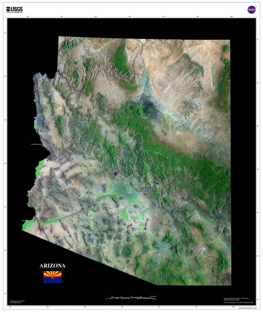 Satellite Map Of Arizona.These Us Geological Survey Satellite Maps Were Made With Tri Decadal