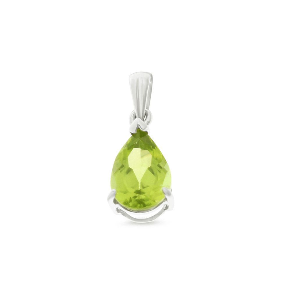 1.44ctw 6 x 8 mm. Pear Genuine Natural Peridot Pendant .925 Sterling Silver