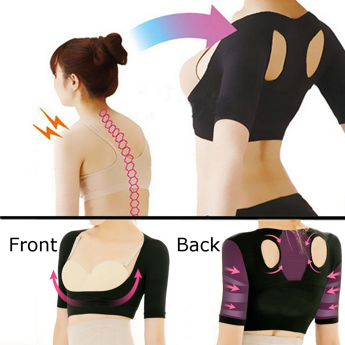 4e2812e259299 Women Shoulder Back Posture Corrector Chest Support Arm Slimming Belt Brace  Push Up Vest