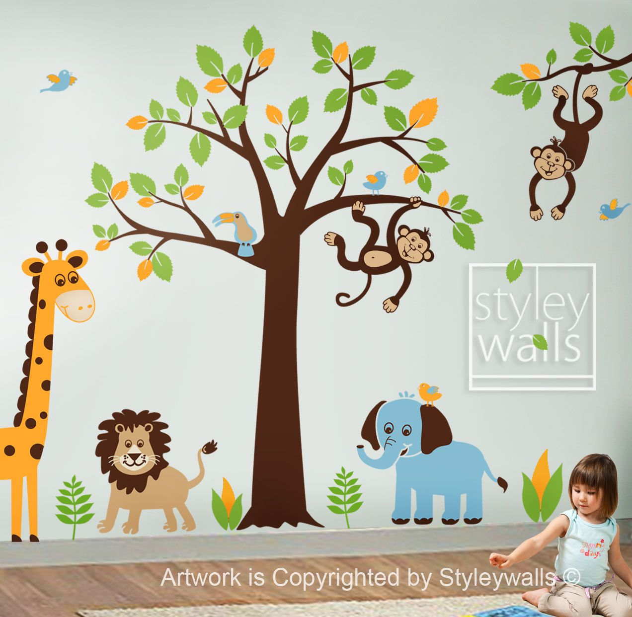 Children Wall Decal Safari Tree Decal Jungle Animals Decal HUGE - Wall decals jungle
