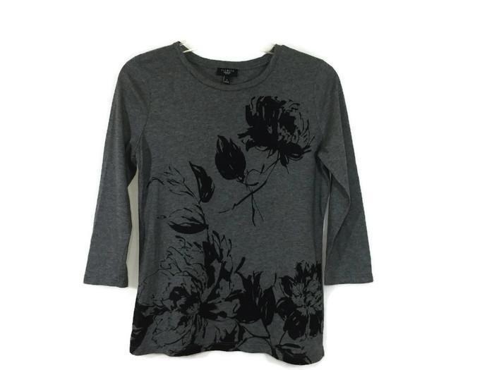 TALBOTS Petites Size S Small SP 3/4 Sleeve Tee Gray Top Blouse Womens EUC…