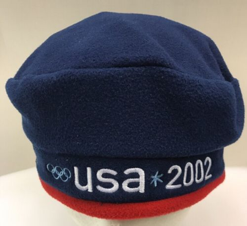 ROOTS 2002 Olympics Beret Cap Hat Beanie USA US Olympic Team Blue Red NWT New