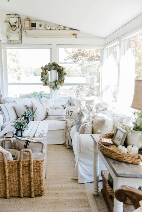 Cozy Farmhouse Fall Sunroom is part of Farm house living room - Liz Marie shares key elements in Cozy Farmhouse Fall Decor  She updates her seasonal decor in her sunroom, check out how it turned out