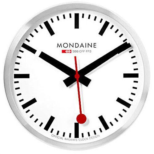The Mondaine Large Swiss Railway Wall Clock Silver Is Based On Railway Engineer Hans Hilfiker S 1940s Classi Swiss Railway Clock Clock Swiss Railway Wall Clock