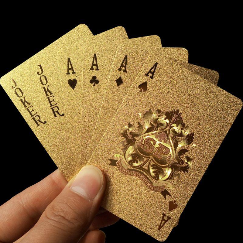 Altın Iskambil Kartları Güverte altın folyo poker set Sihirli kart ...