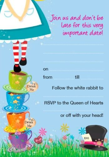 alice in wonderland blank invites Party ideas Pinterest Alice
