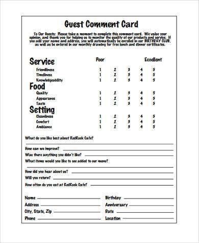 Image Result For Restaurant Easy Feedback Comment Card