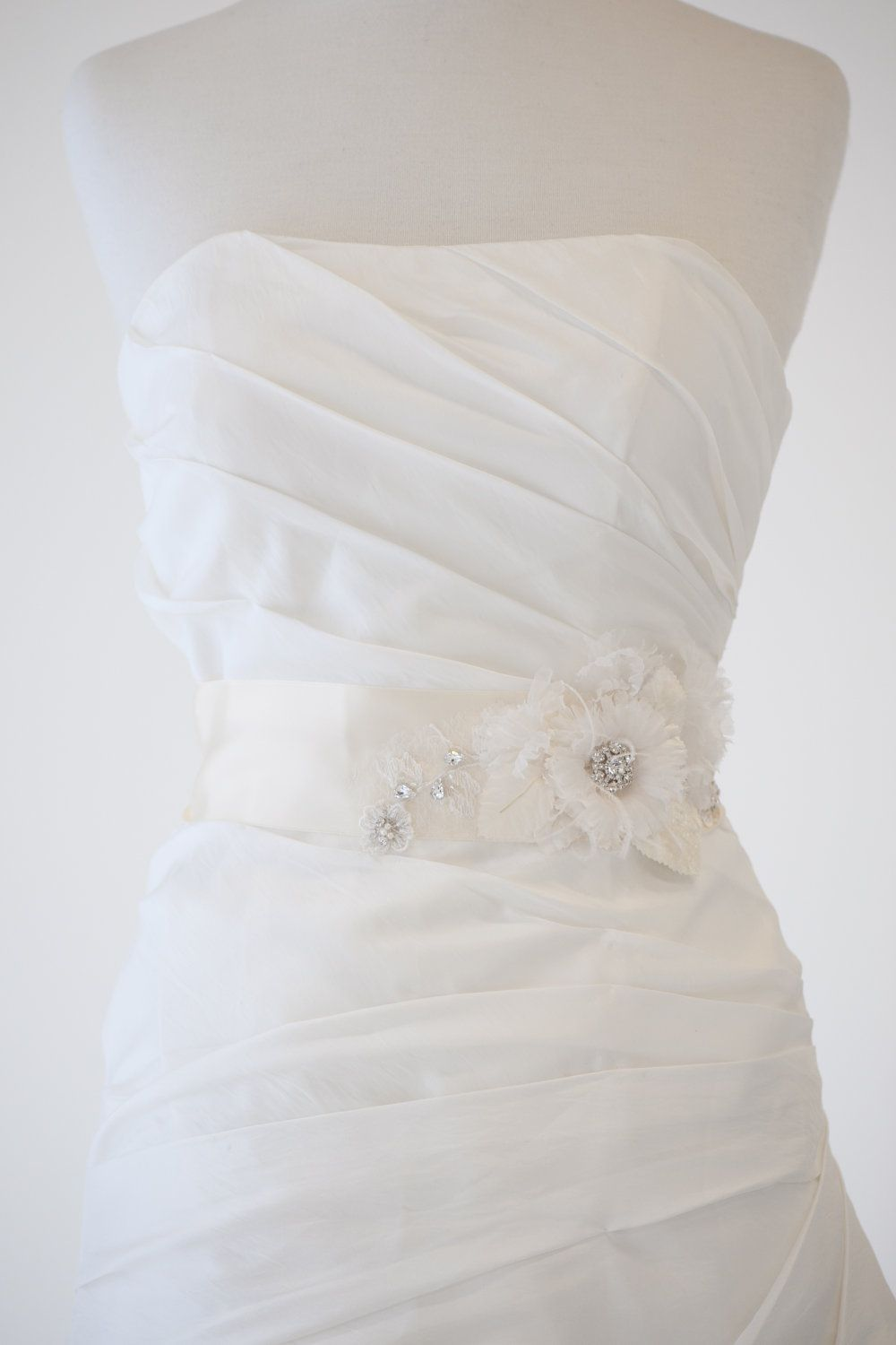 Bridal Gown Sash, Wedding Dress Sash, Ivory Ribbon Sash, Flower ...