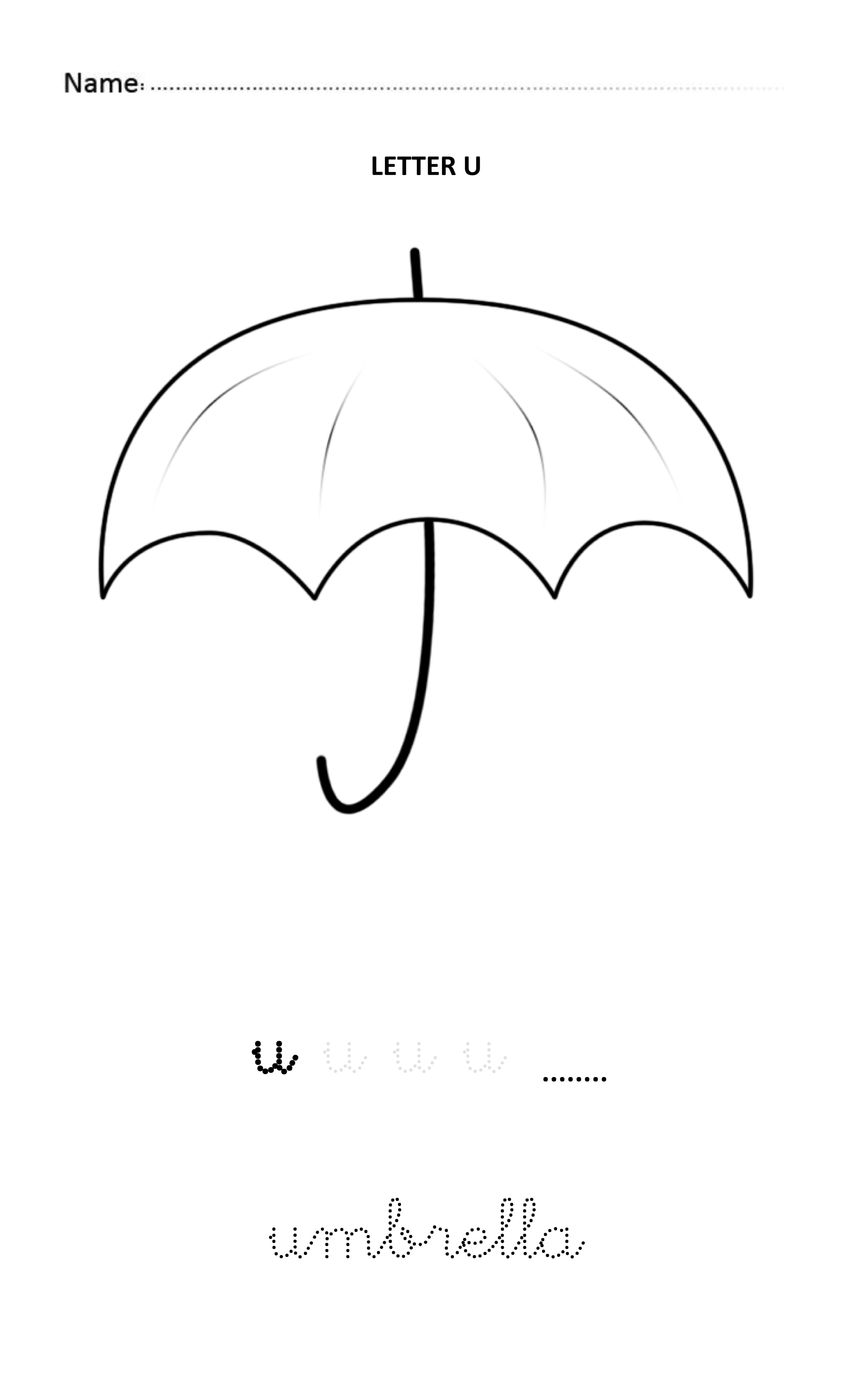 Letter U Easy And Visual Colouring Worksheet For Early