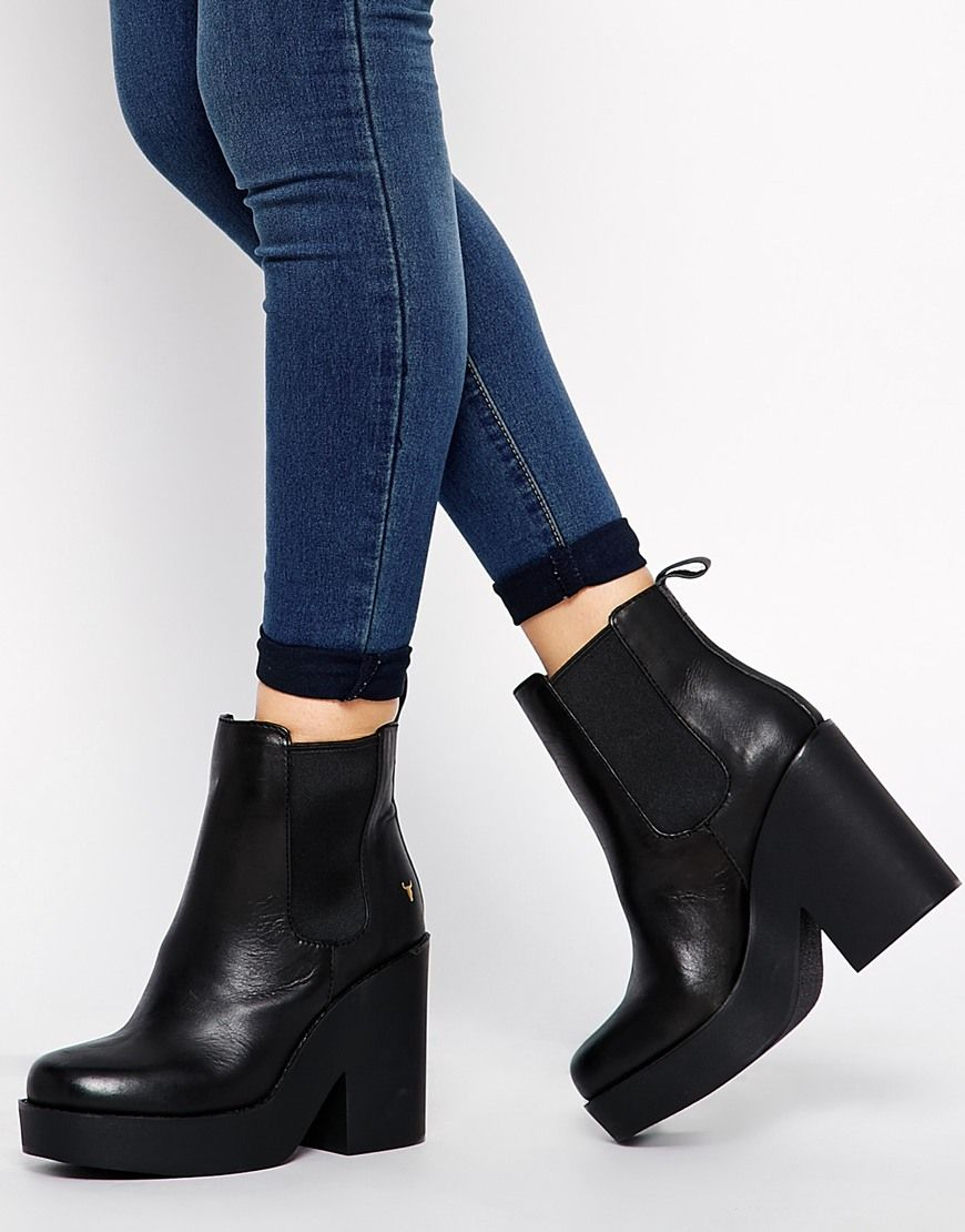 Windsor Smith | Windsor Smith Speck Chunky Heeled Chelsea Boots at ...
