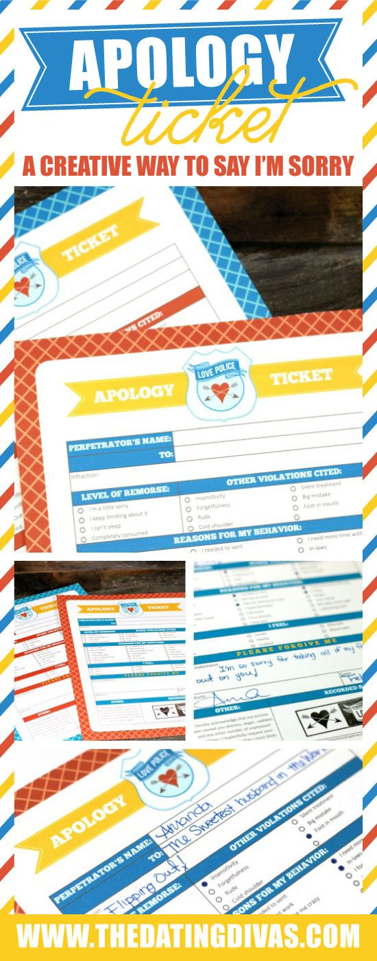 Apology Ticket A Fun Way To Apologize Marriage Dating