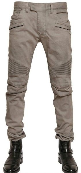 Balmain Stretch Denim Biker Jeans - Lyst
