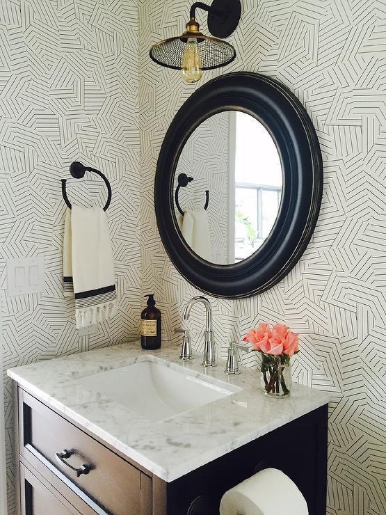 Chic Schumacher Deconstructed Stripe Black Wallpaper