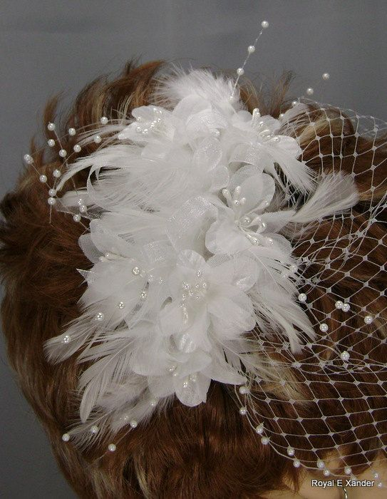 White Flower Cluster with Sprays & Organza Ribbon by RoyalEXander, $59.00