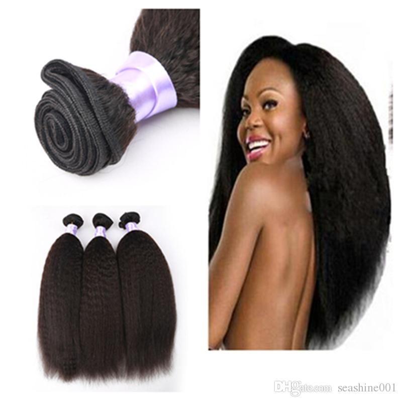 Brazilian Indian Malaysian Virgin Hair Straight Coarse Yaki 3 Pcs