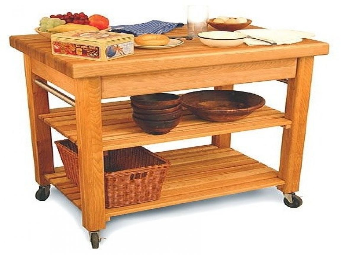 Kitchen stainless steel butcher block cart with single shelf little