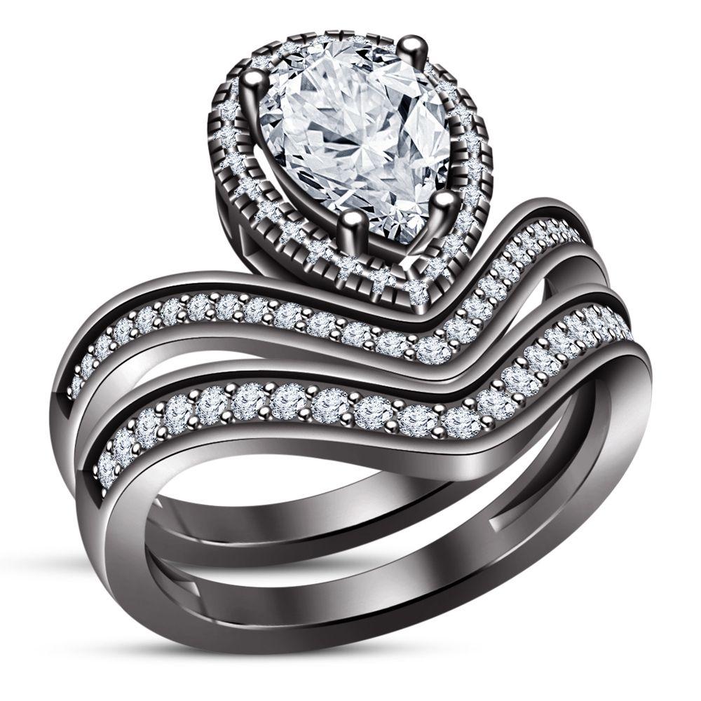 Chevron Engagement Ring Bridal Set Pear Shape Diamond