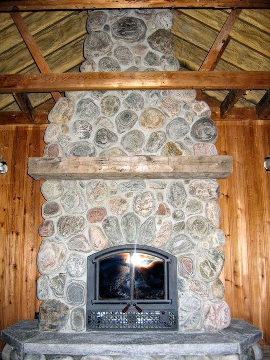 Rock fireplace before shot of natural river rock - Rockabilly mantel ...