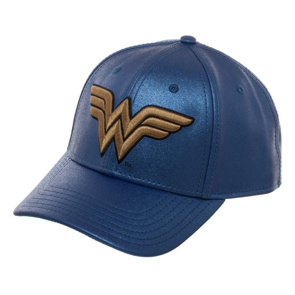 new concept 0ce52 517d6 ... release date wonder woman blue snapback hat dc comics curved bill  justice league glittery dd207 2adc9