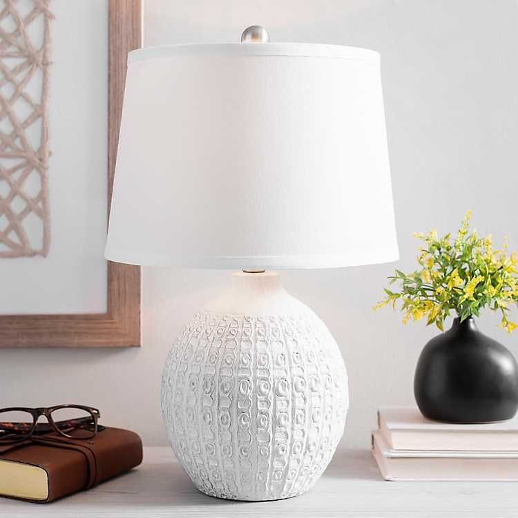 White Textured Round Table Lamp From Kirkland S In 2020 Round Table Lamp Lamp Table Lamp