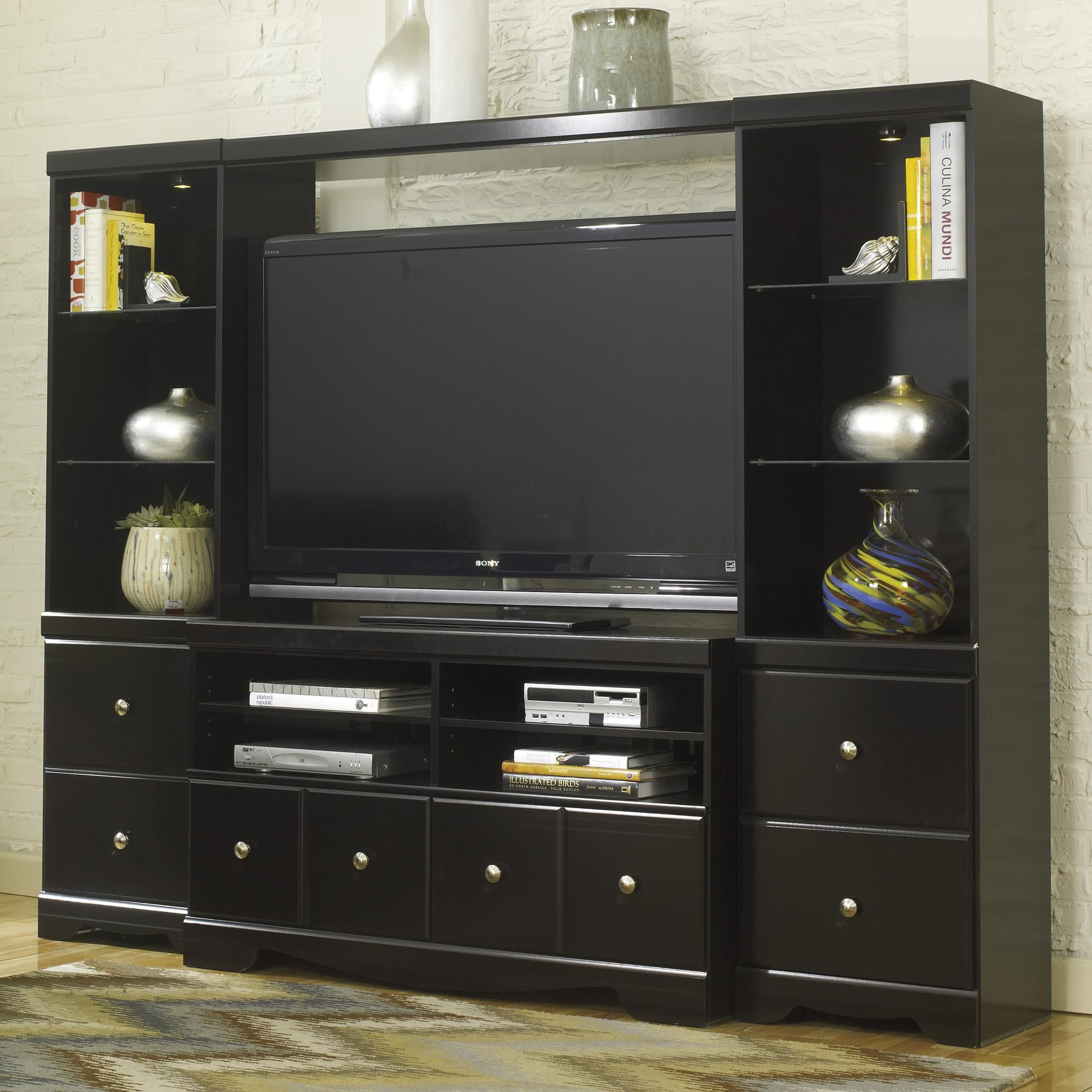 Shay Wall Media Center By Signature Design By Ashley Al Abode Wood Entertainment Center Entertainment Center Und Furniture