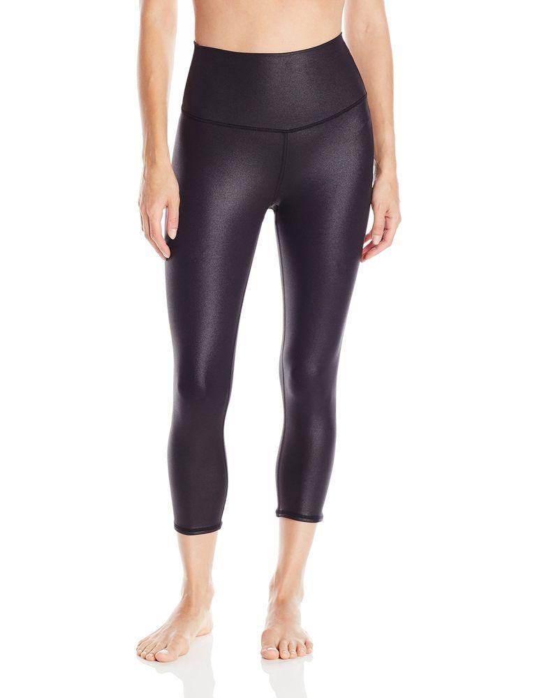 4fcd478490 Alo Yoga Women's High Waist Airbrush Capri Legging, Black Glossy, X-Small  #AloYoga