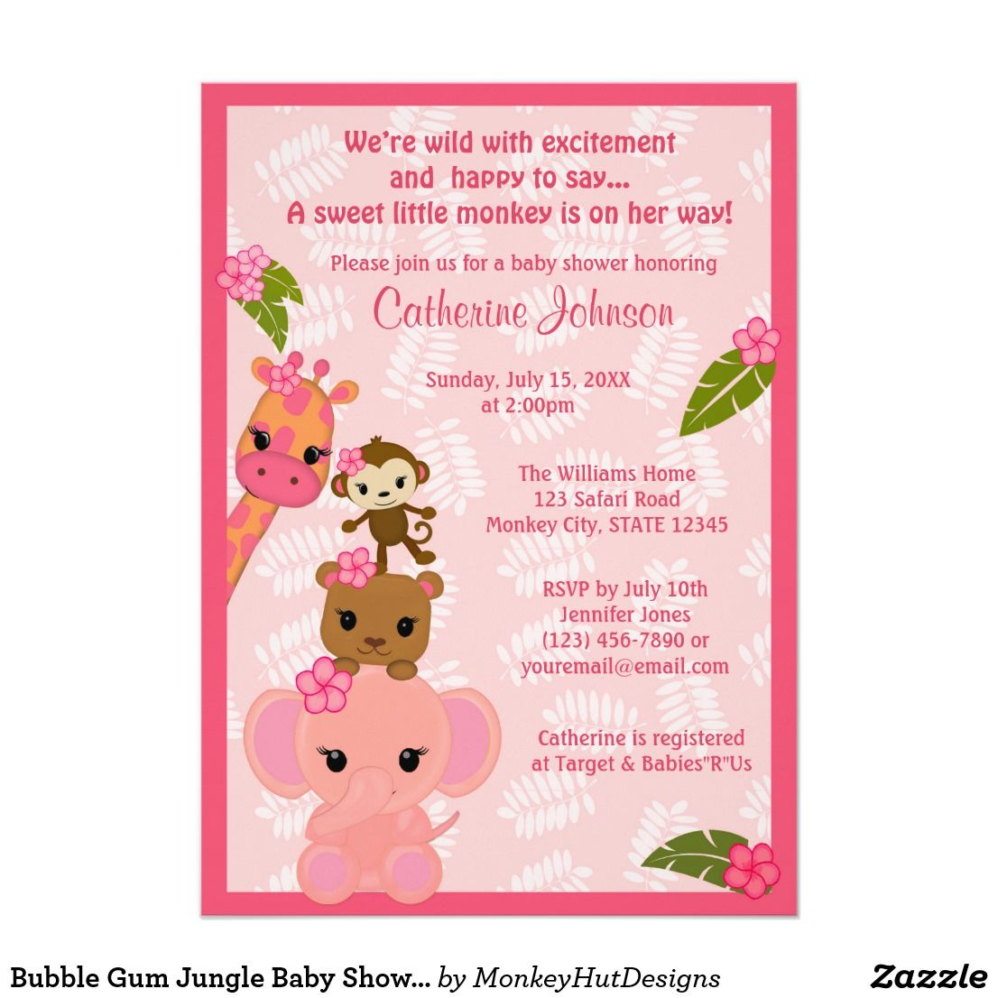 Bubble Gum Jungle Baby Shower Invitations GIRL | Fun baby, Shower ...