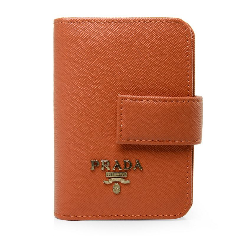 Prada Orange Saffiano Calfskin Leather Business Card Holder $99.00 ...