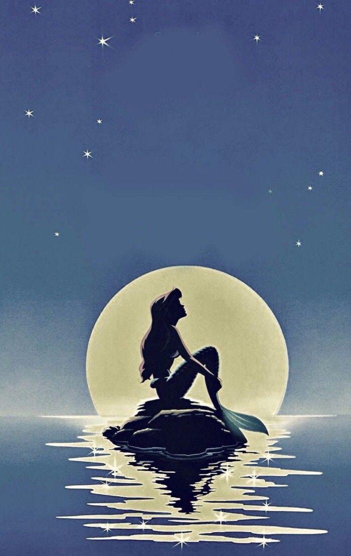 月とアリエルが美しい壁紙