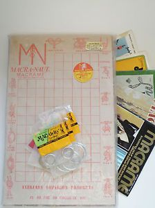 Macrame Knotting Board Books Patterns Supplies Vintage 1970s Craft Knot Tying