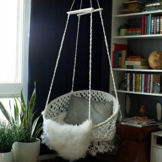 High Quality Creating With The Stars Round Macramé Hanging Chair  Rope Is Clothesline.  Hoop Is A Hula Hoop. Base Is The Metal Frame Of A Bungee Chair.