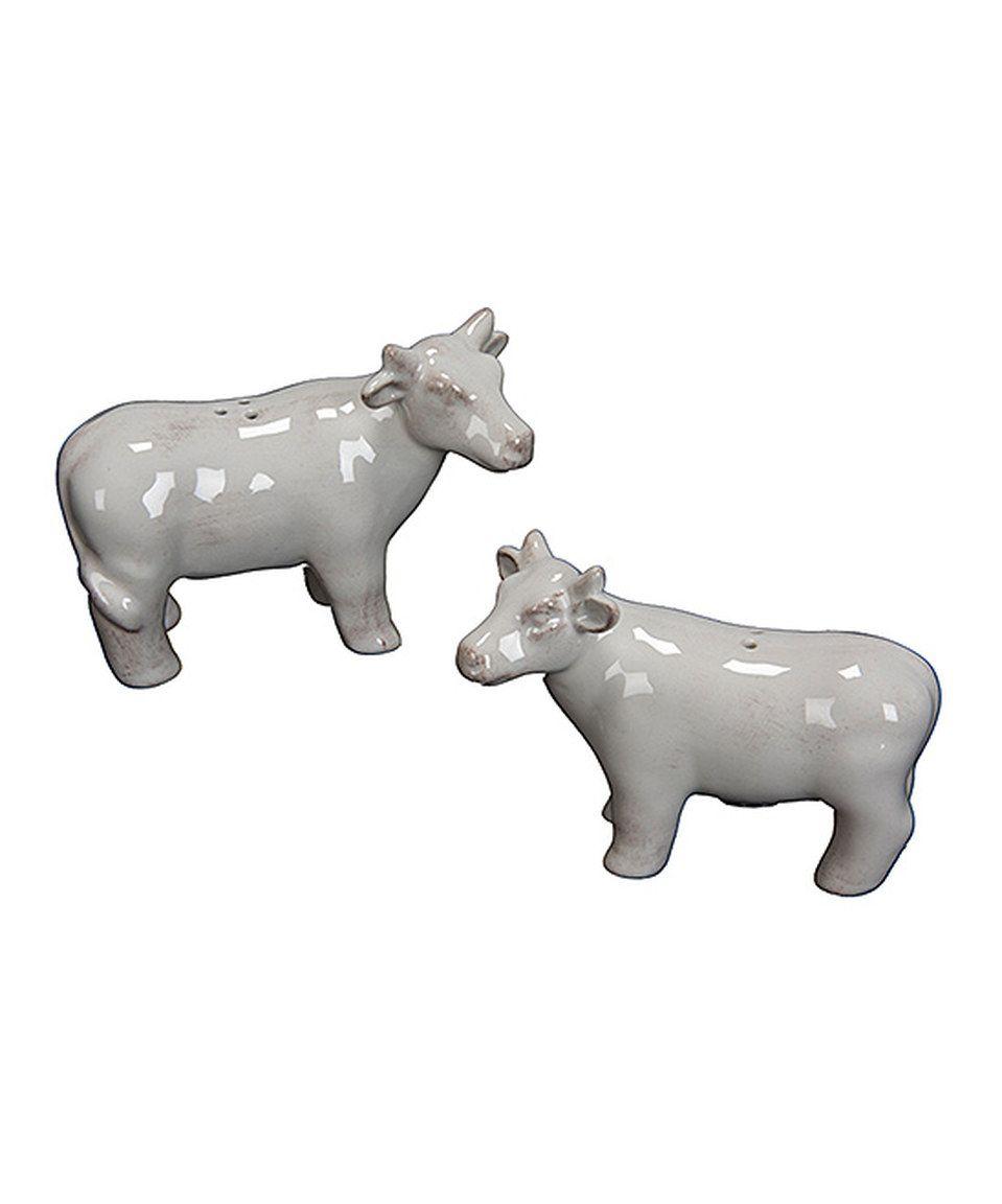 Loving this white cow salt pepper shaker set on zulily