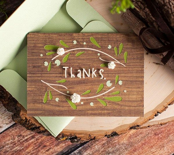 Simple Card Making Ideas Free Part - 31: Cricut Free Cut Simple Cards. This Is A Thank You Card With Leaves Flowers  And Wood Background. | Cricut - Card Inspiration | Pinterest | Cricut And  Cards
