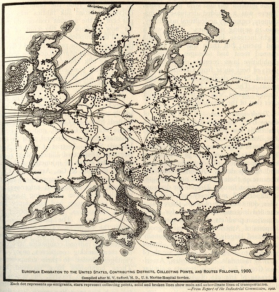 This map covers emigration from Europe to the United States ...