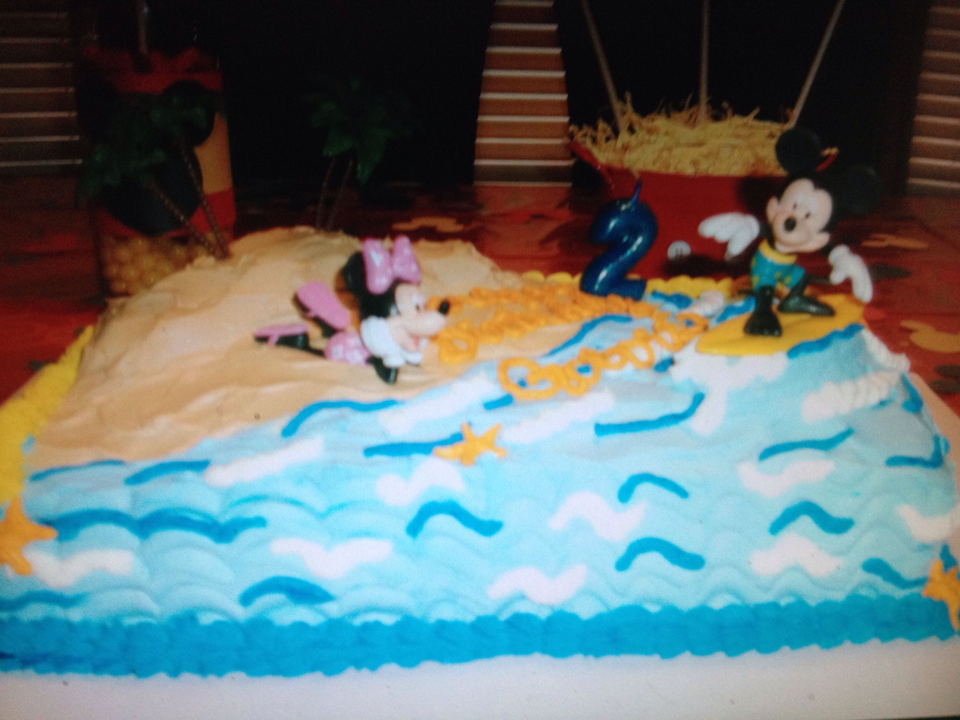 Mickey Mouse surf birthday cake