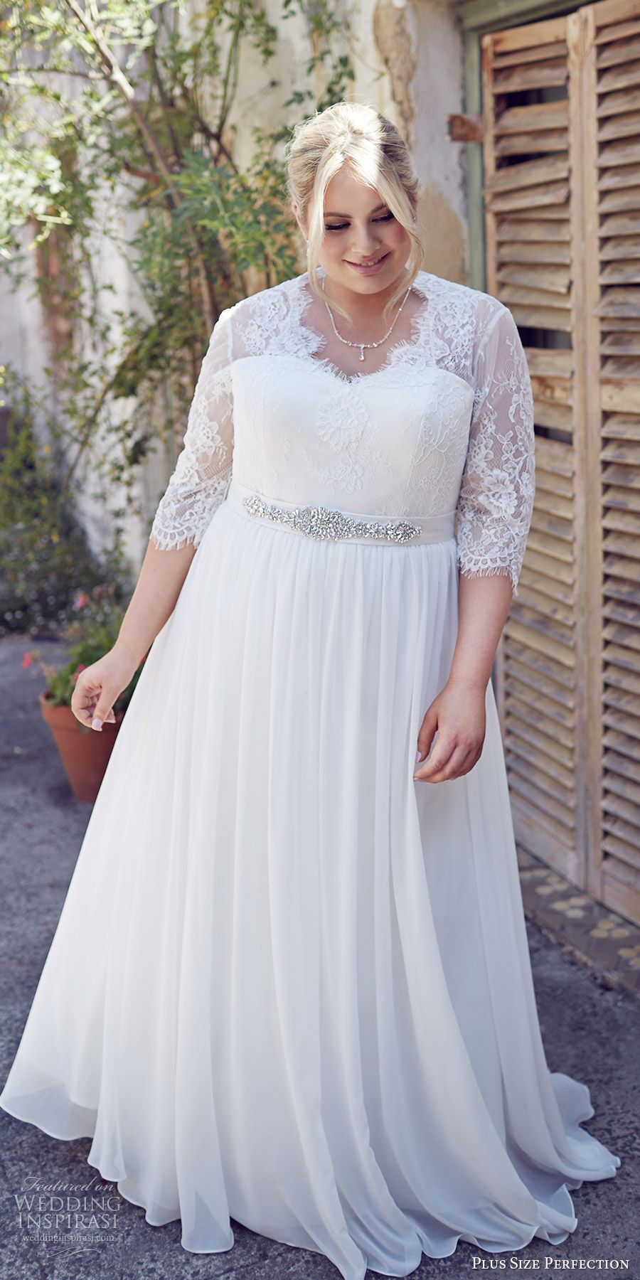 plus size perfection bridal 2016 3 quarter sleeves sweetheart illusion v  neck lace bodice a line wedding dress (elegance) mv romantic elegant 36c606eb7691