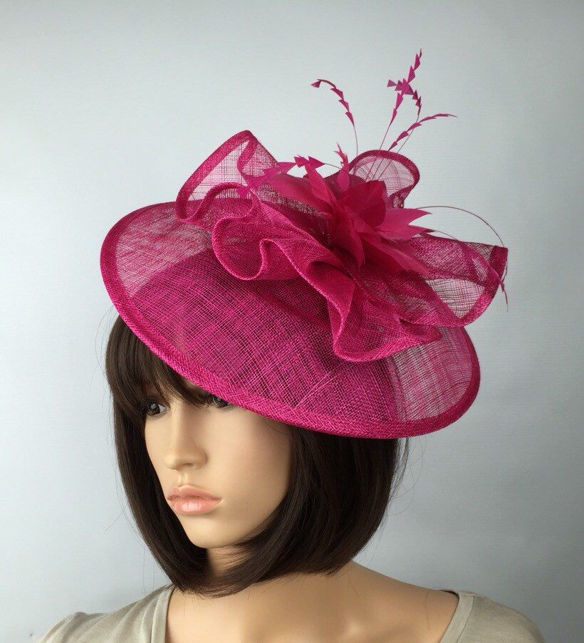 Ladies Day Royal Ascot Hot Pink Fuschia Fascinator Wedding Hat Headband Clip UK