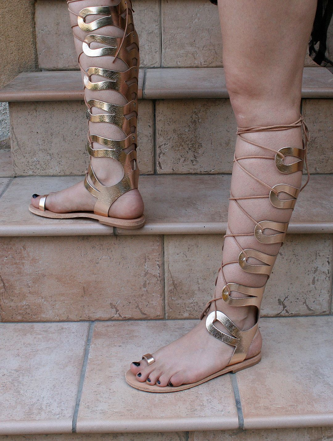 2f5a100a6955 gladiator sandals tall knee high leather flat toe by gothspecks ...