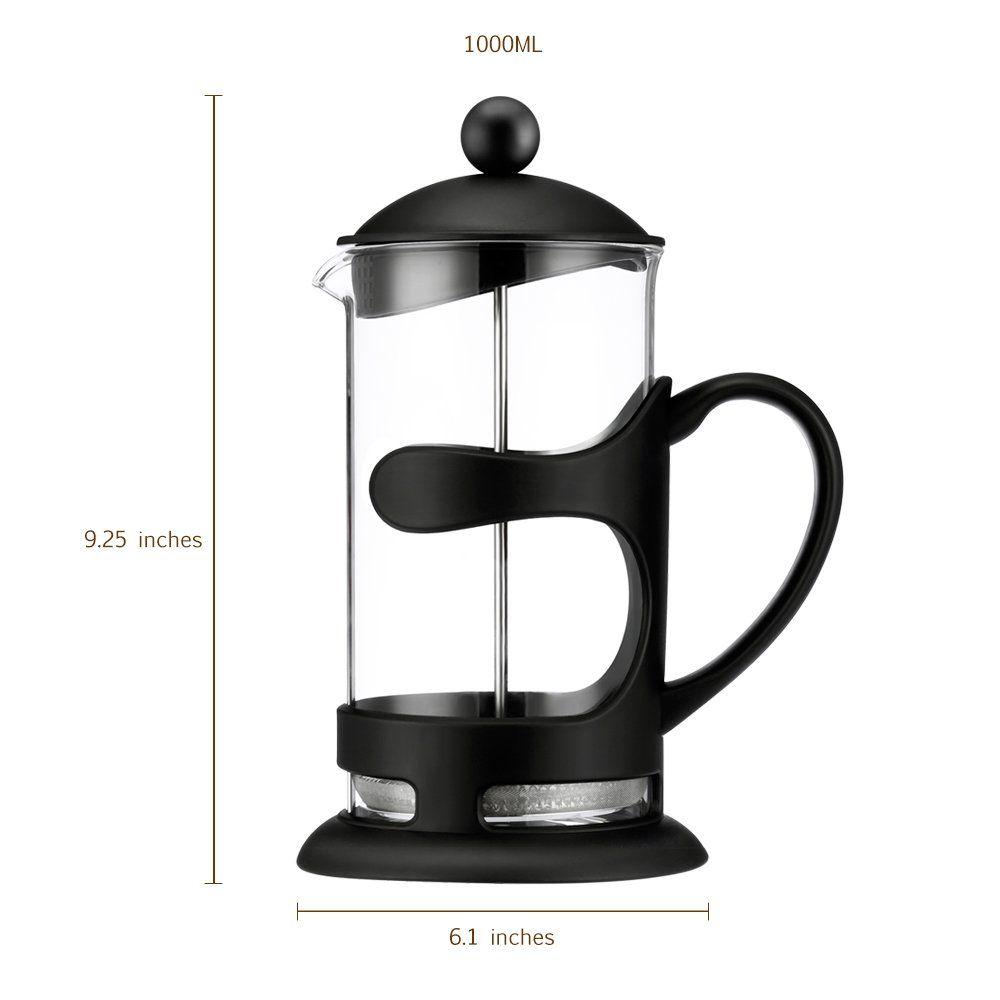 French Press Coffee Maker And Tea Fda Borosilicate Clear Gl Machine