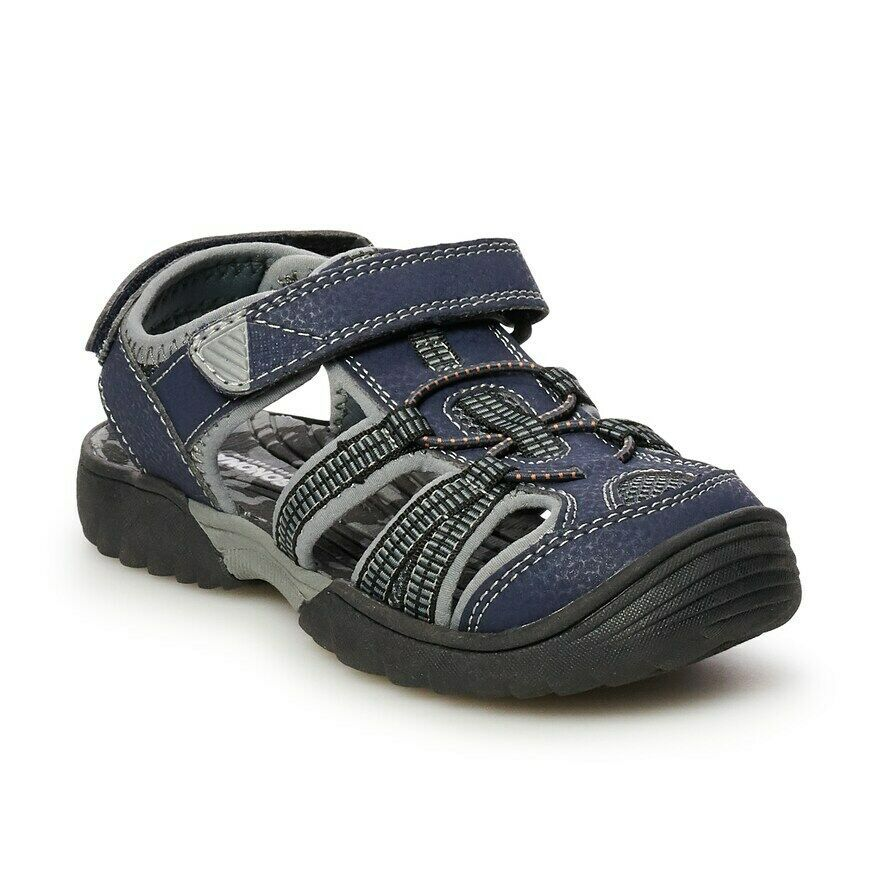 Sonoma Little Boys Kalvin Black /& Blue Canvas Fisherman Sport Sandals Closed Toe Shoes