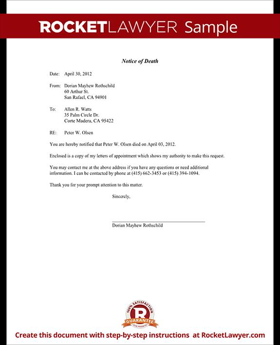 SampleNoticeOfDeathFormTemplatePng  Certificates
