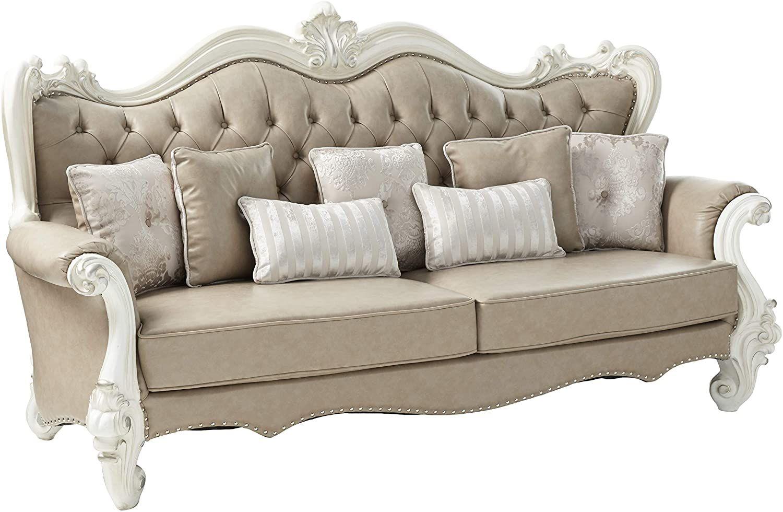 ACME Versailles Sofa w/7 Pillows Vintage Gray PU