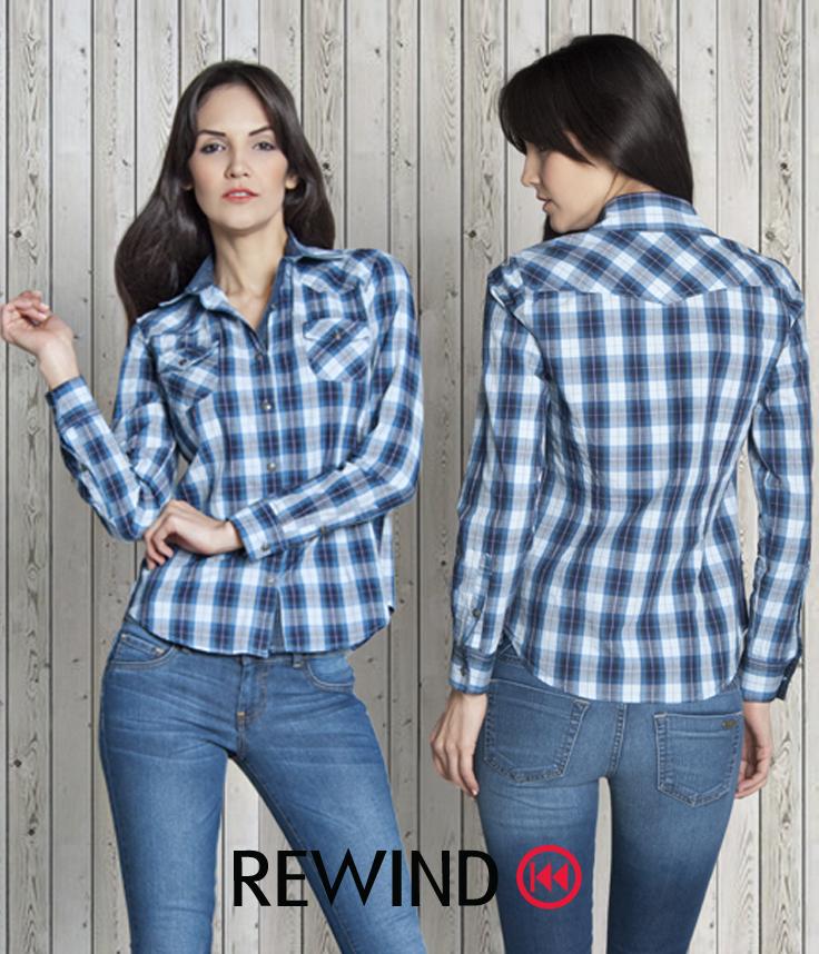 2ec6ad6cbbaaf  camisa  playera  cuadros  blanco  azul  jeans  mezclilla  demin  outfit   Pin  estilo  casual  dama  Rewind  women  clothes  style  clothing  summer   mujer ...