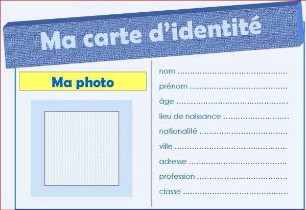 carte d identité vierge à remplir La carte d'identité ! | Carte d'identité, Carte identité enfant