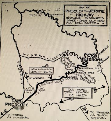 Map Of Arizona Including Jerome.Highway 79 The Prescott To Jerome Shortline History Of Prescott